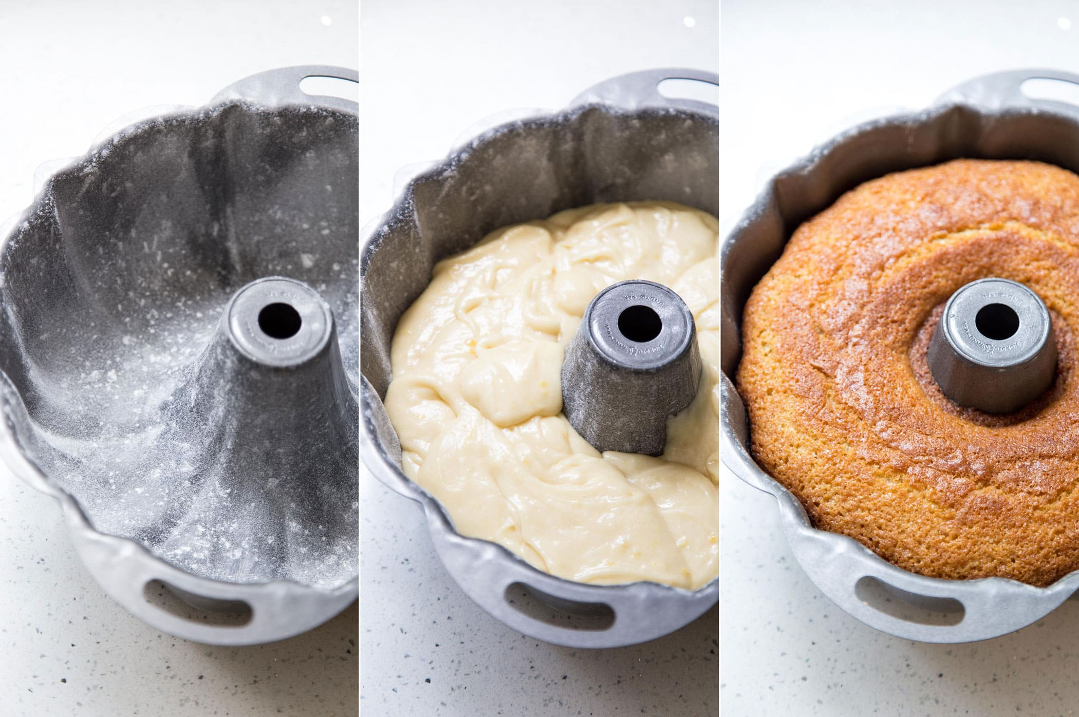 Adding cake batter to bundt pan for baking