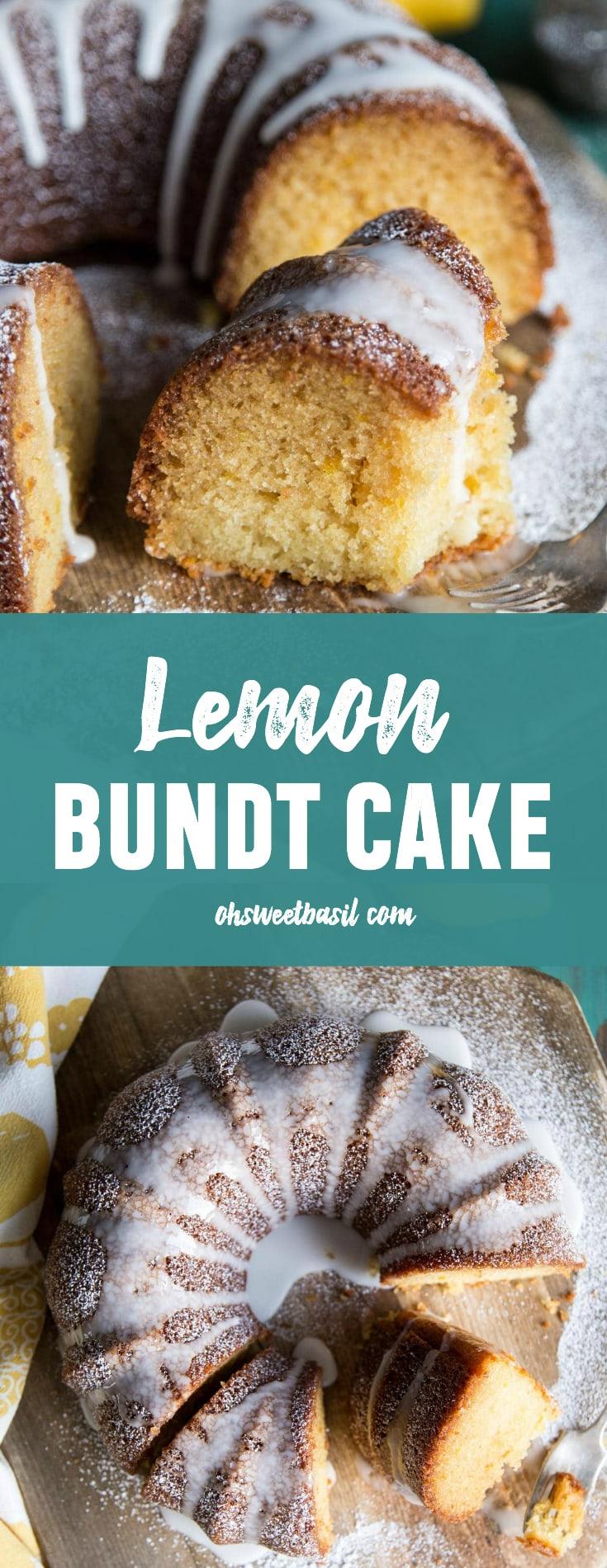A slice of lemon bundt cake with glaze