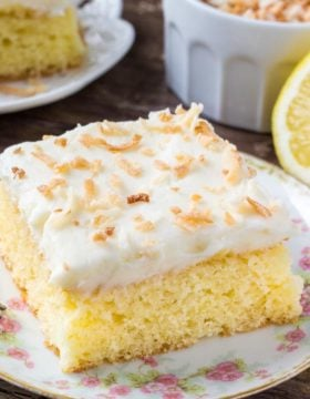 Lemon coconut cake - moist lemon cake with fluffy, creamy coconut buttercream.