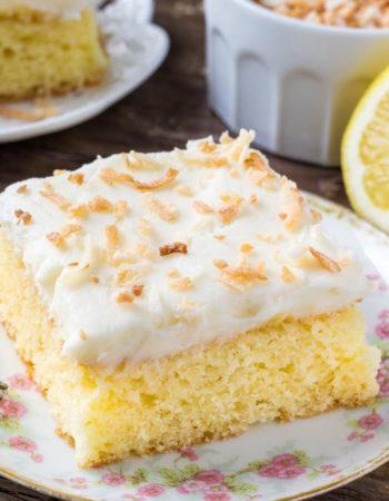 Lemon coconut cake - moist lemon cake with fluffy, creamy coconut buttercream.