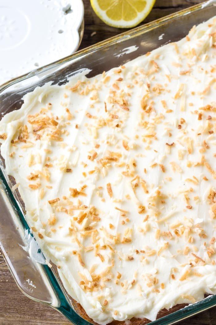 Moist lemon sheet cake frosted with coconut buttercream