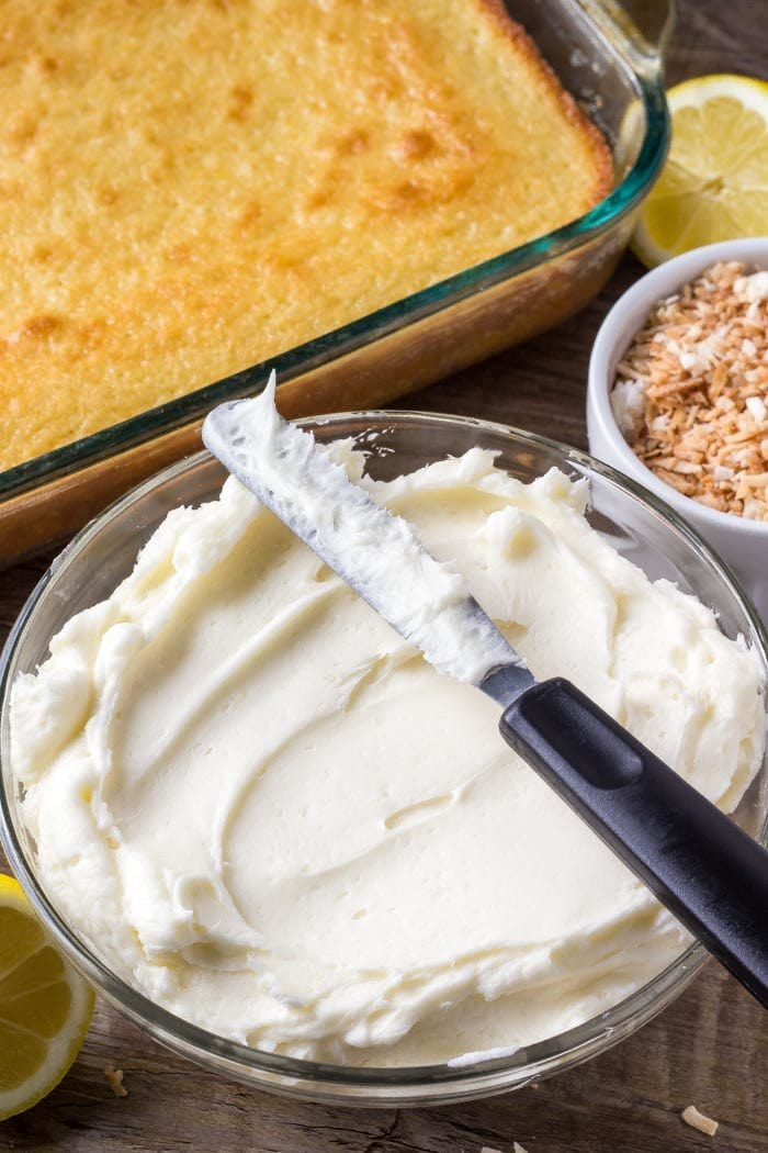 Creamy, fluffy coconut buttercream frosting is the perfec flavor combo with moist lemon cake.