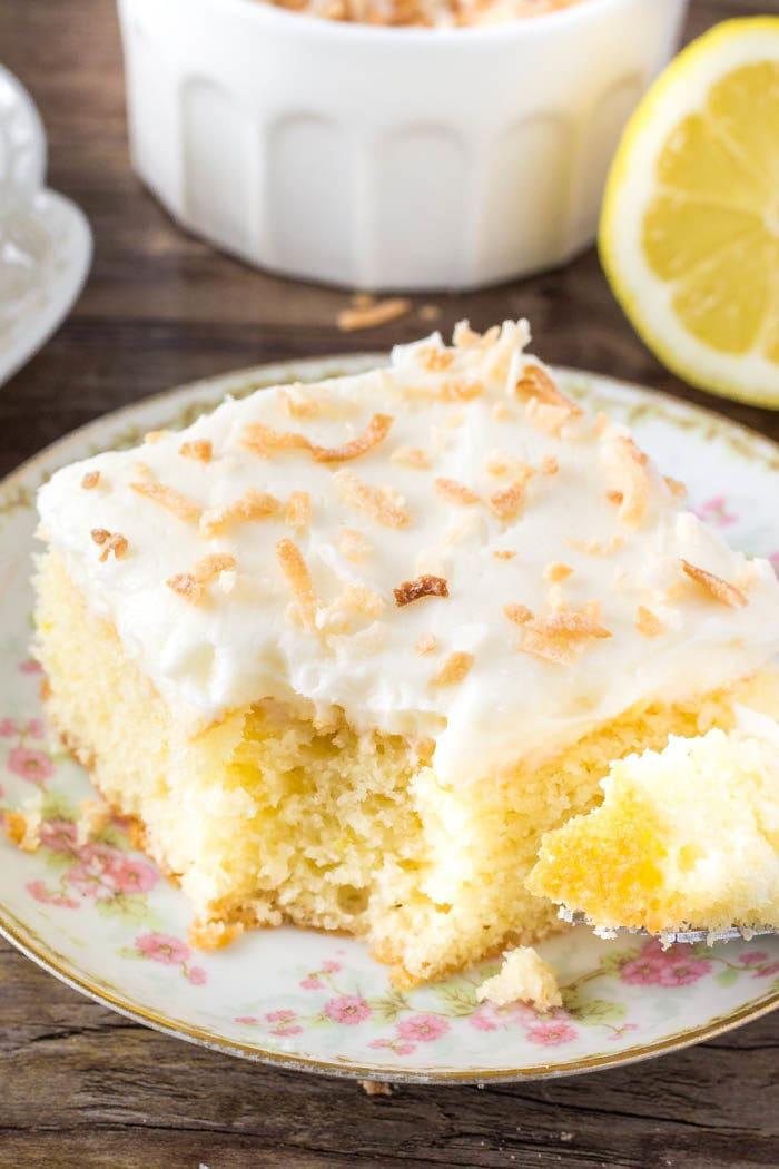 Moist, tender lemon cake with coconut frosting.