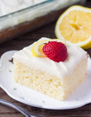 This lemon cake with lemon cream cheese frosting has a soft cake crumb and delicious lemon flavor. The cream cheese frosting is smooth & creamy for the perfect pairing.