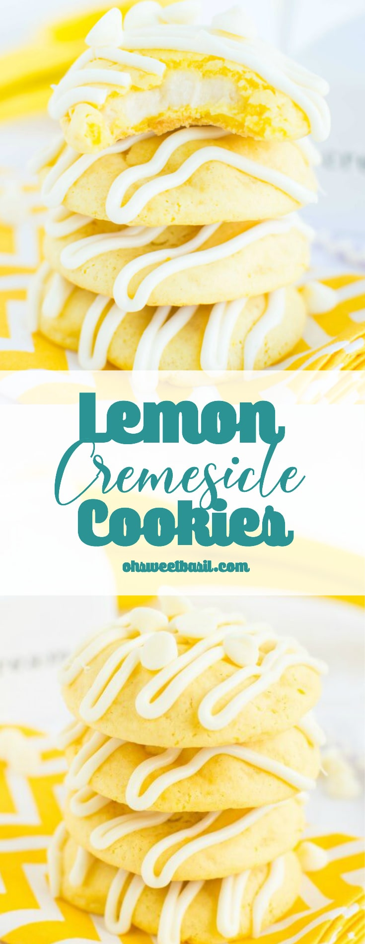 A stack of Lemon Cremesicle cookies with a cream cheese filling drizzled with white chocolate