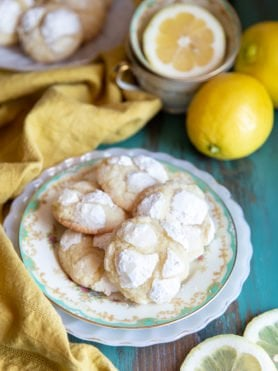 Lemon crinkle cookies on a plate