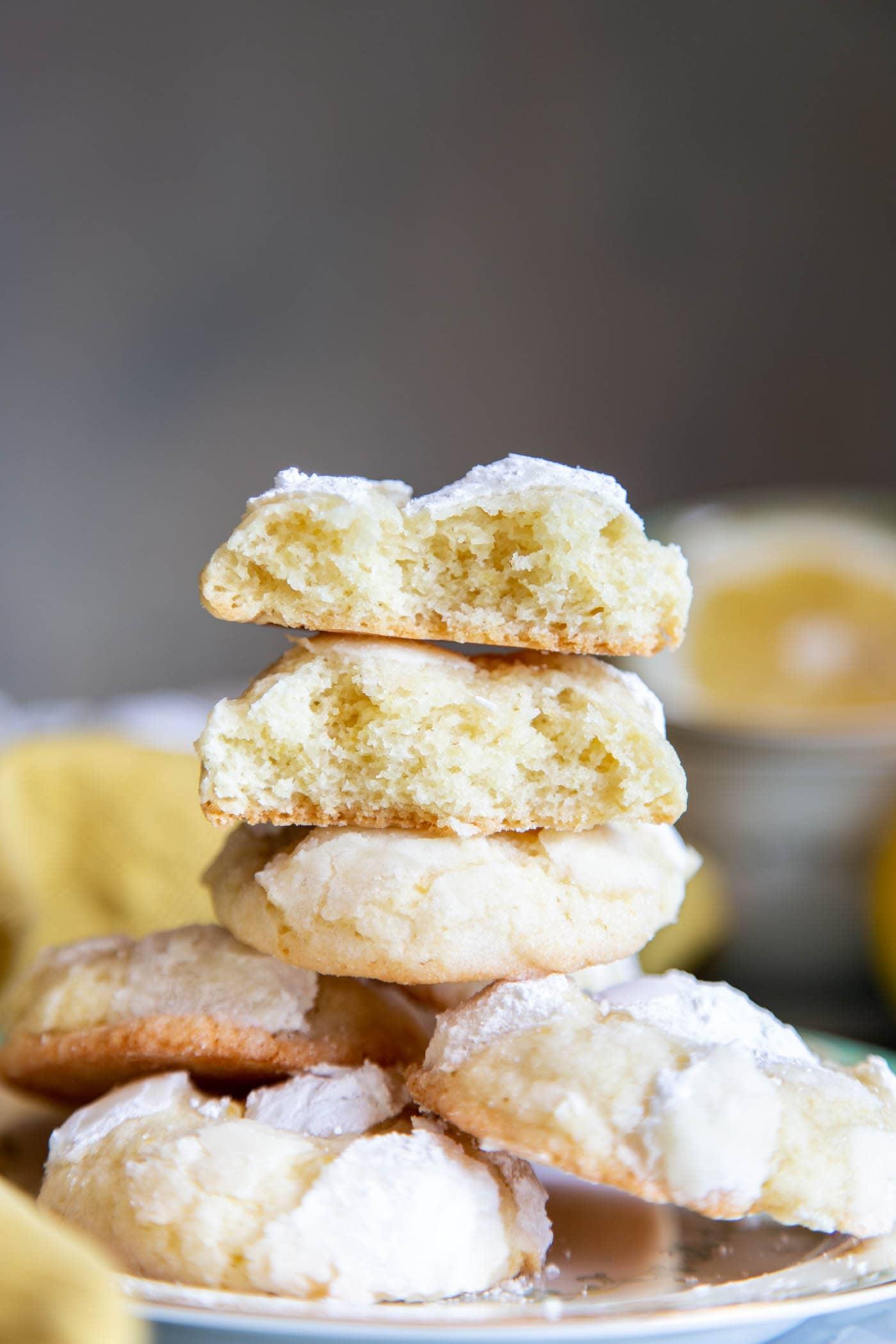 A stack of lemon crinkle cookies