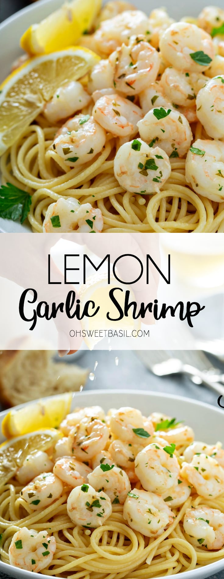 A serving plate of lemon garlic shrimp on pasta. There are two lemon wedges on the side and fresh parsley is sprinkled on top. There is some bread, three forks, and salt and pepper shakers in the background. A lemon wedge is being squeezed over the plate of shrimp.