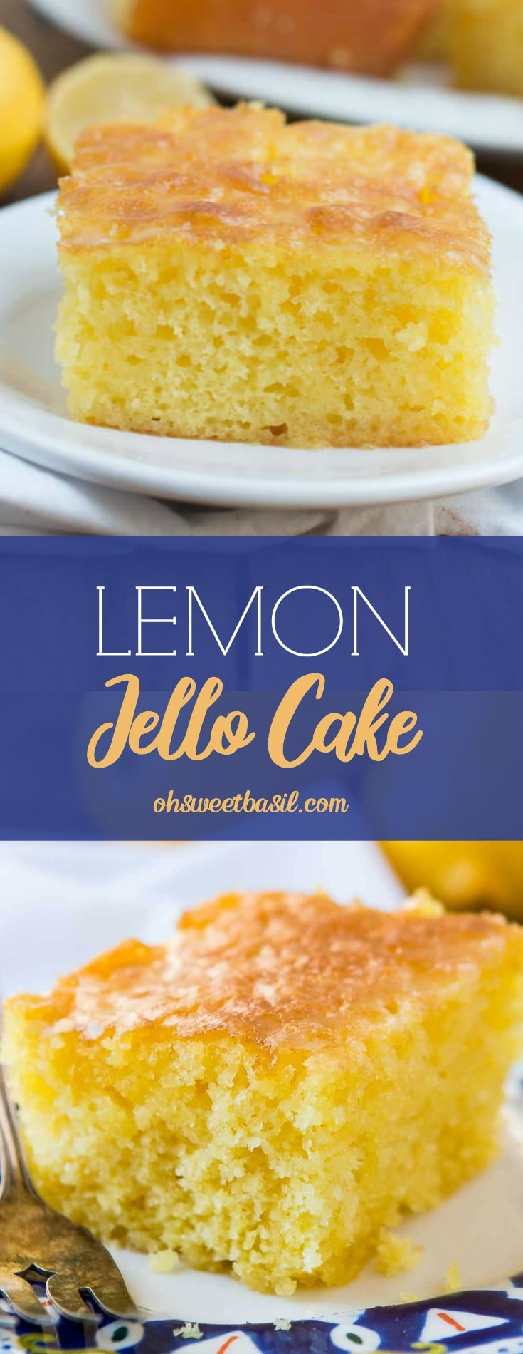 Lemon Jello Cake on a white plate on top of a white napkin on a wooden table.
