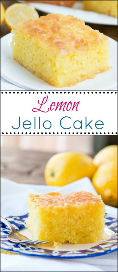 Picture collage - slices of Lemon Jello Cake on white plates