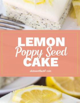 A slice of lemon poppy seed cream cheese cake