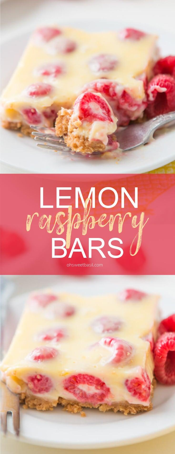 Lemon Raspberry Bars with a buttery graham cracker crust