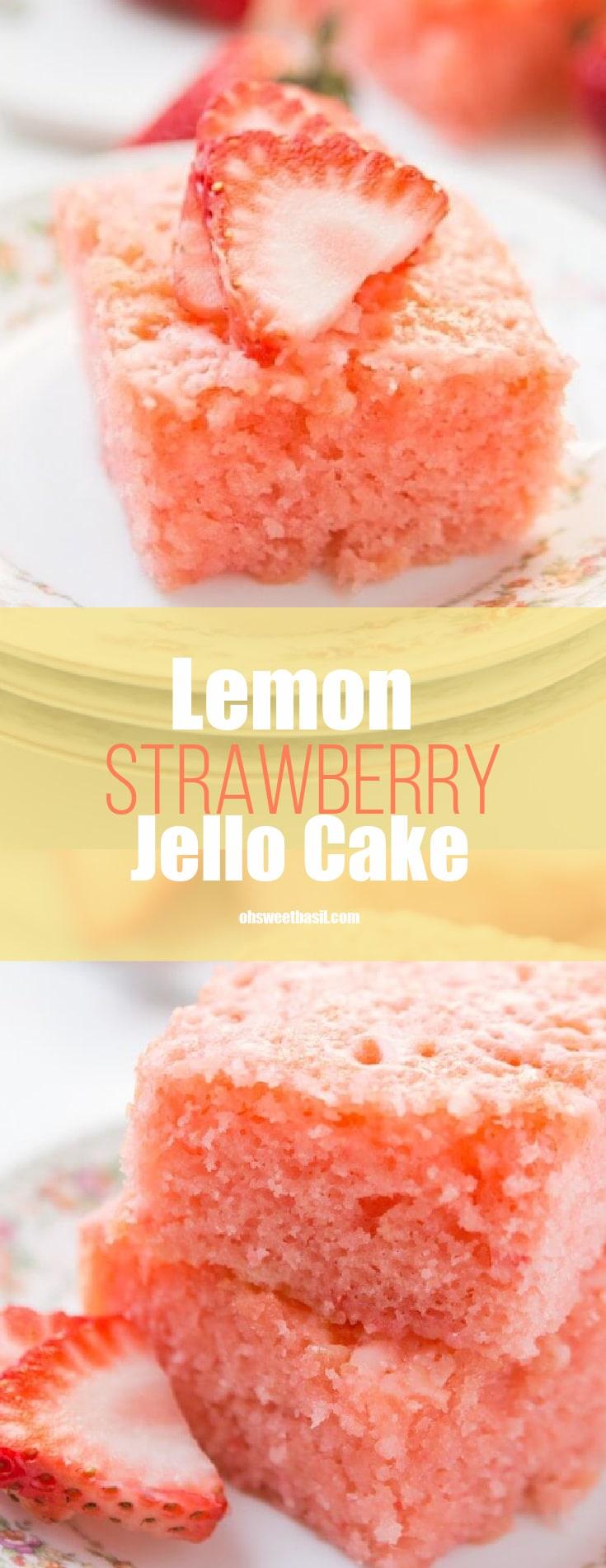 A piece of strawberry lemonade jello cake