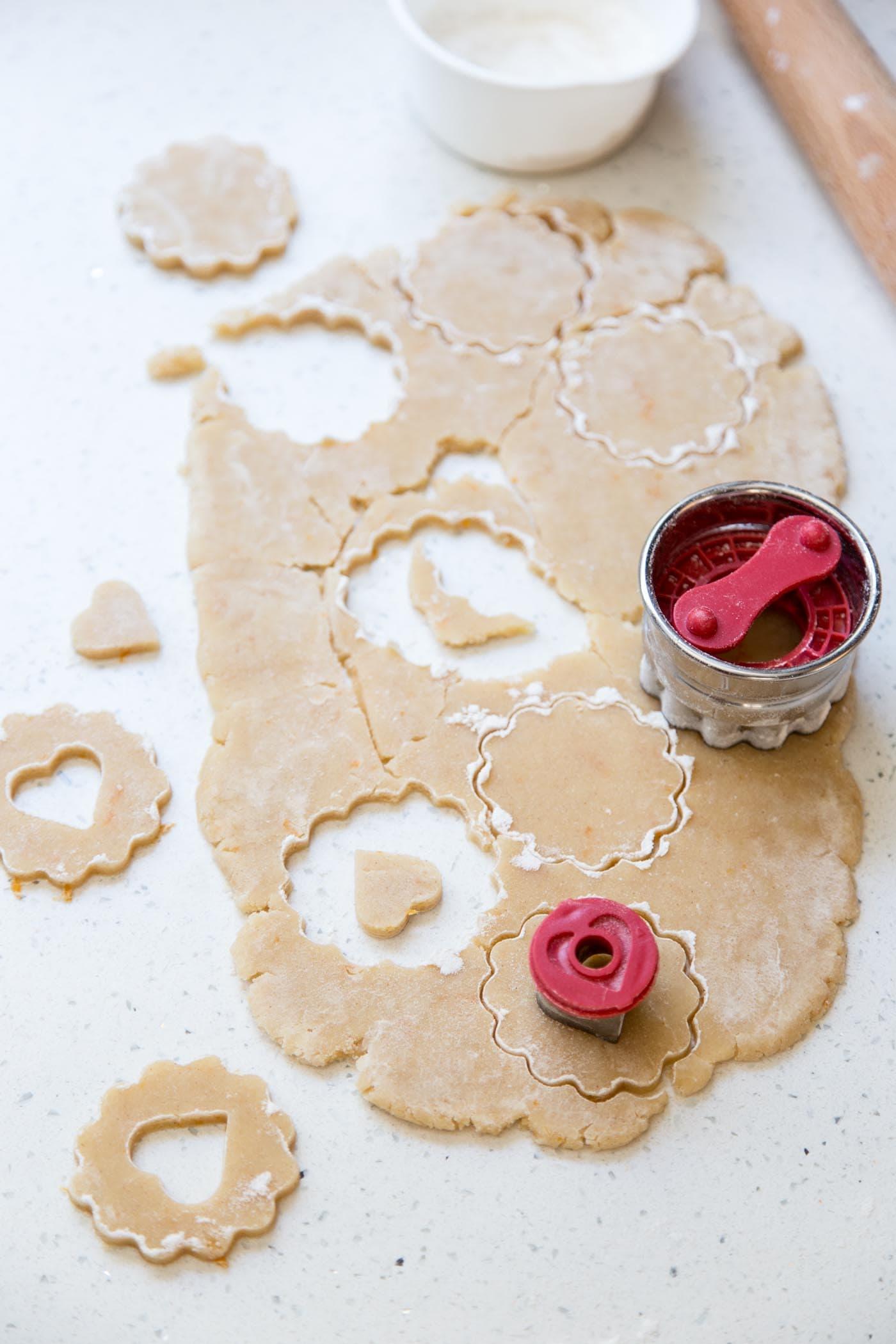 Cutting Linzer cookie dough