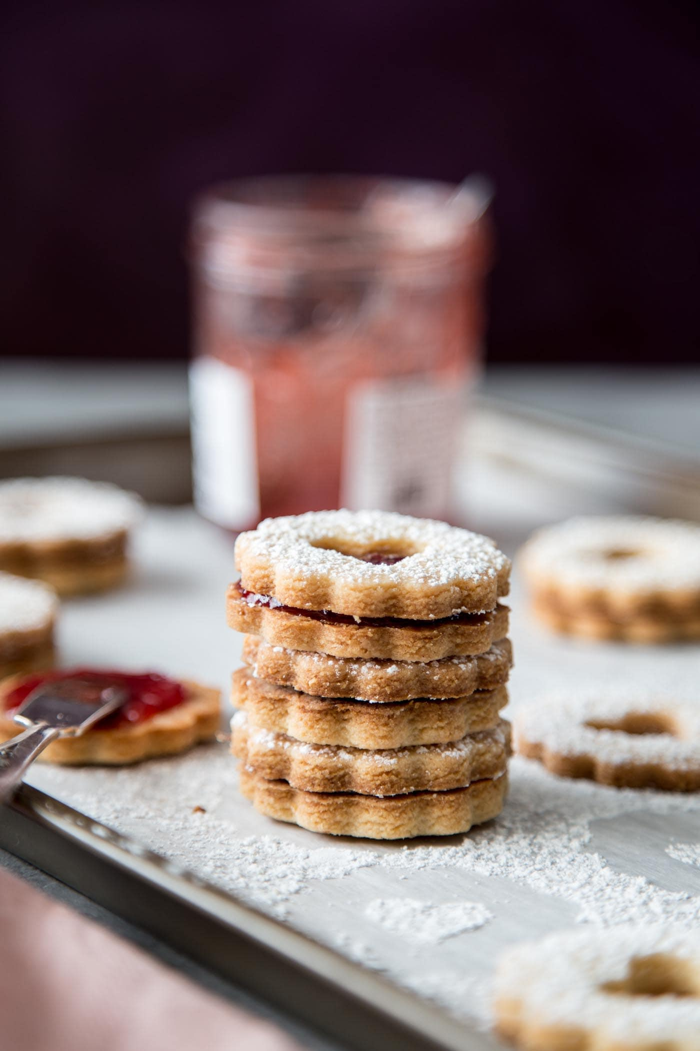 A stack of Linzer cookies
