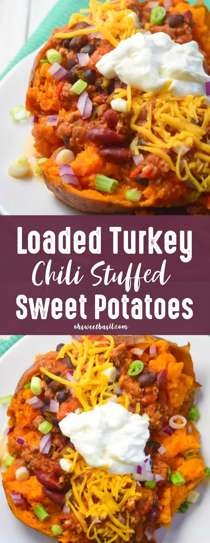 A loaded turkey chili stuffed sweet potato with cheese and sour cream on top