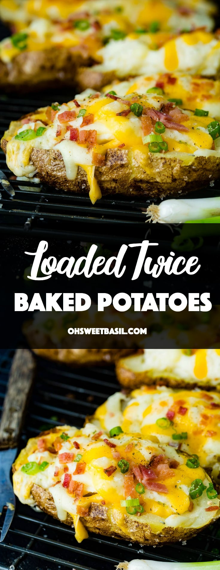a cooling rack with cheesy topped twice baked potatoes and bacon crumbles