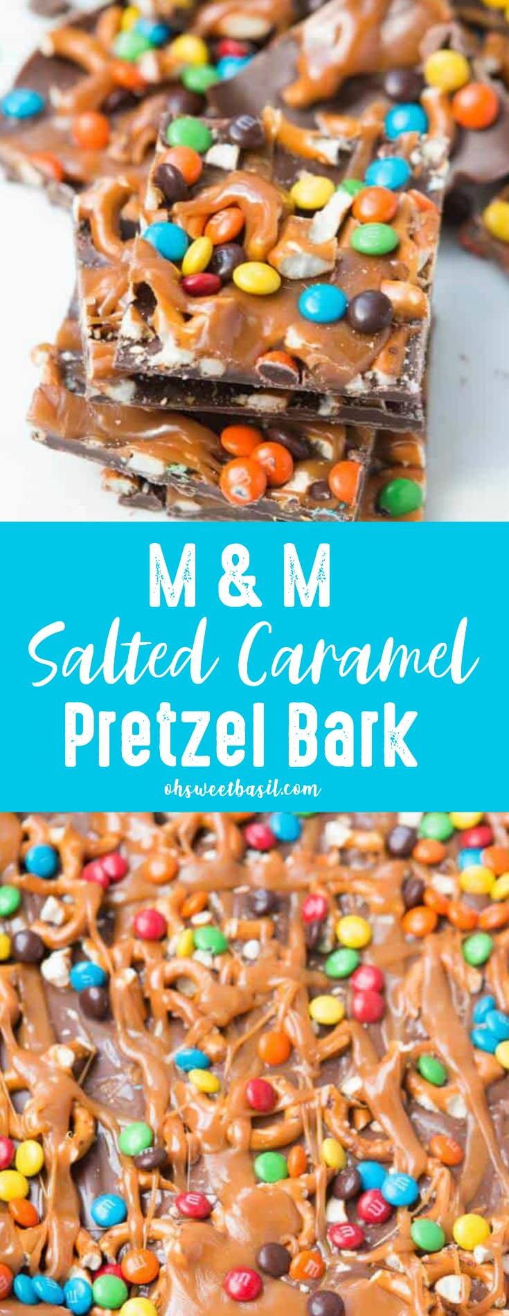 A batch of M&M Salted Carmel Pretzel Bark with M&M's, chocolate, and caramel drizzled on top.