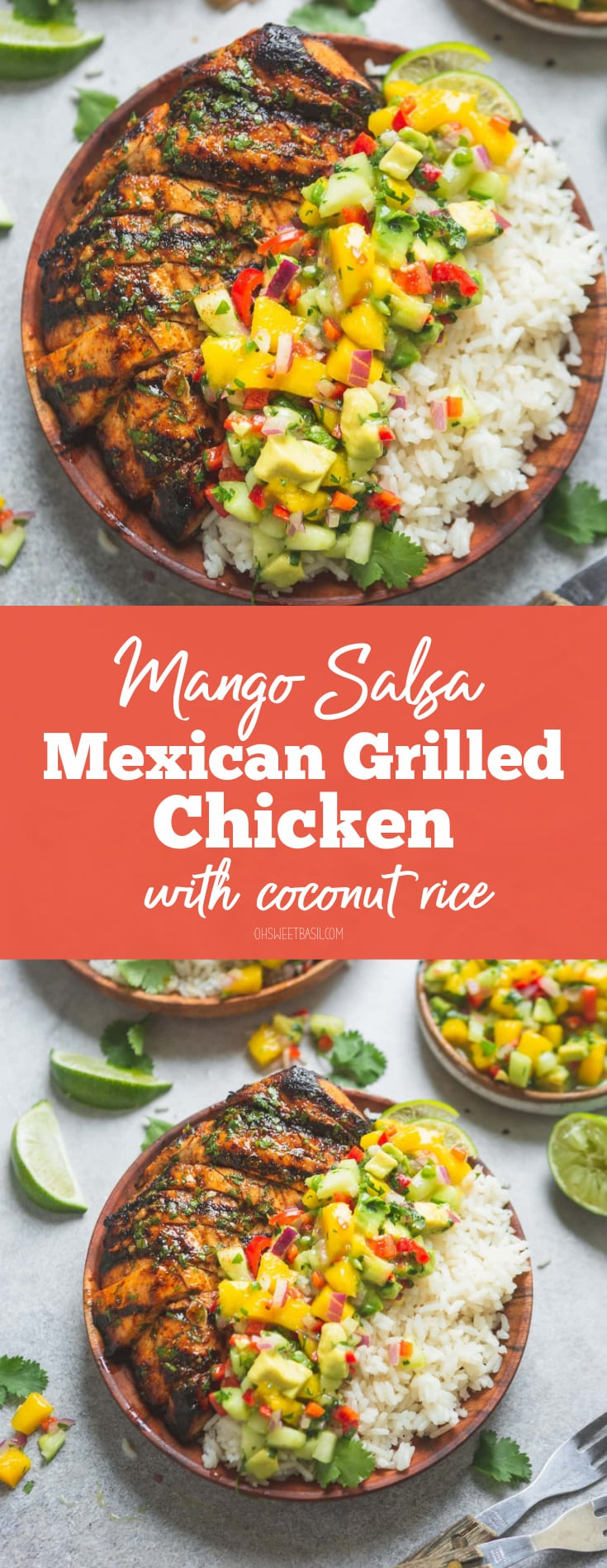 A plate filled with grilled chicken and coconut rice that has been topped with mango salsa. The mango salsa is bright with chunks of mango, peppers and cilantro. There are lime wedges and other plates of chicken, rice and salsa in the background.