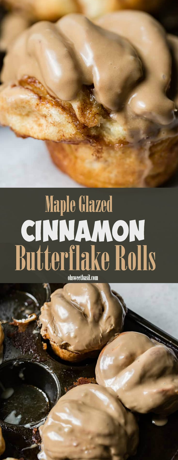 A close up of a cinnamon butterflake roll with maple glaze