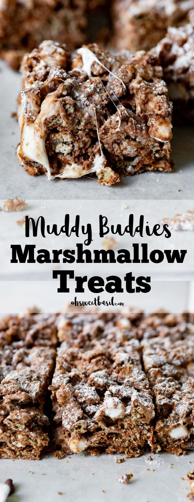 A photo of a single muddy buddies rice krispies treat with gooey marshmallow strung across it.