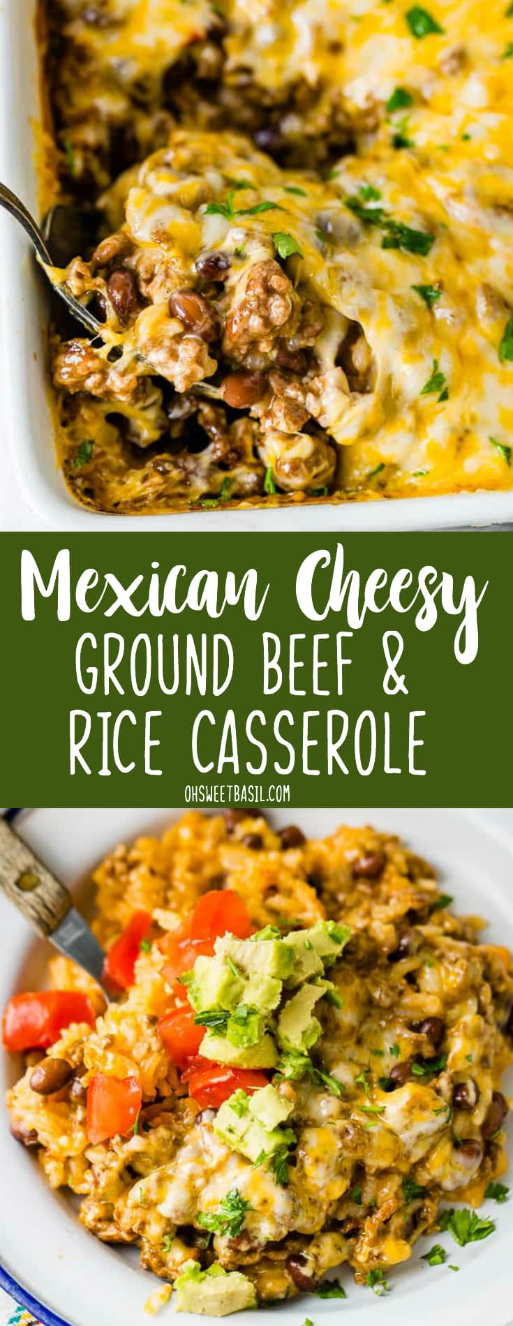 a white casserole dish with a Mexican cheesy ground beef and rice casserole being scooped up with a large spoon