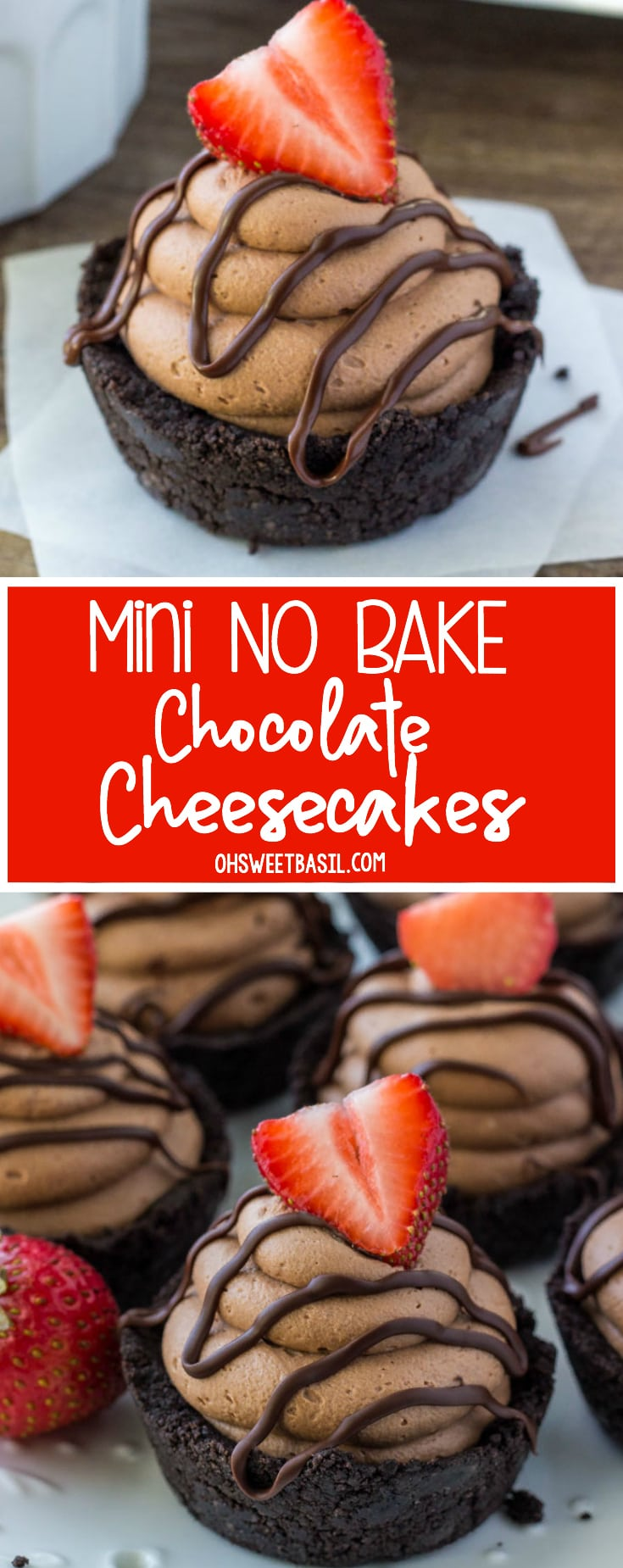 Mini Chocolate Cheesecakes with a fudge drizzle and strawberry on top