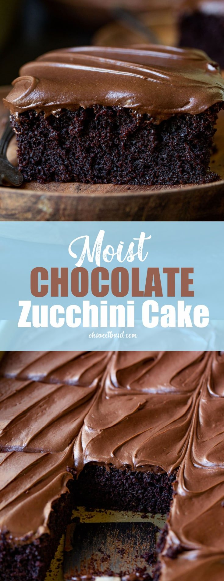 A top view of a moist chocolate zucchini cake with chocolate cream cheese frosting. The cake has been cut but not served.