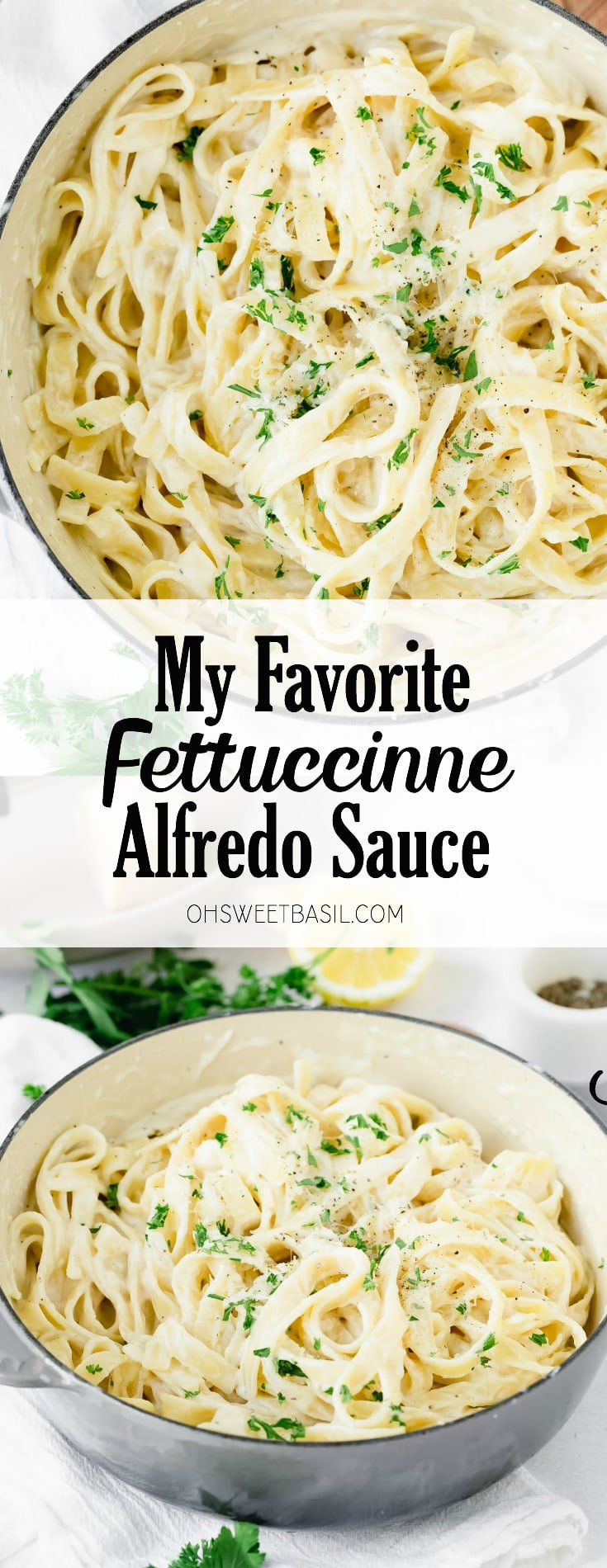 A bowl of fettuccine alfredo. It is sprinkled with parsley and there is fresh parsley and lemon wedges next to the bowl of fettuccine alfredo.