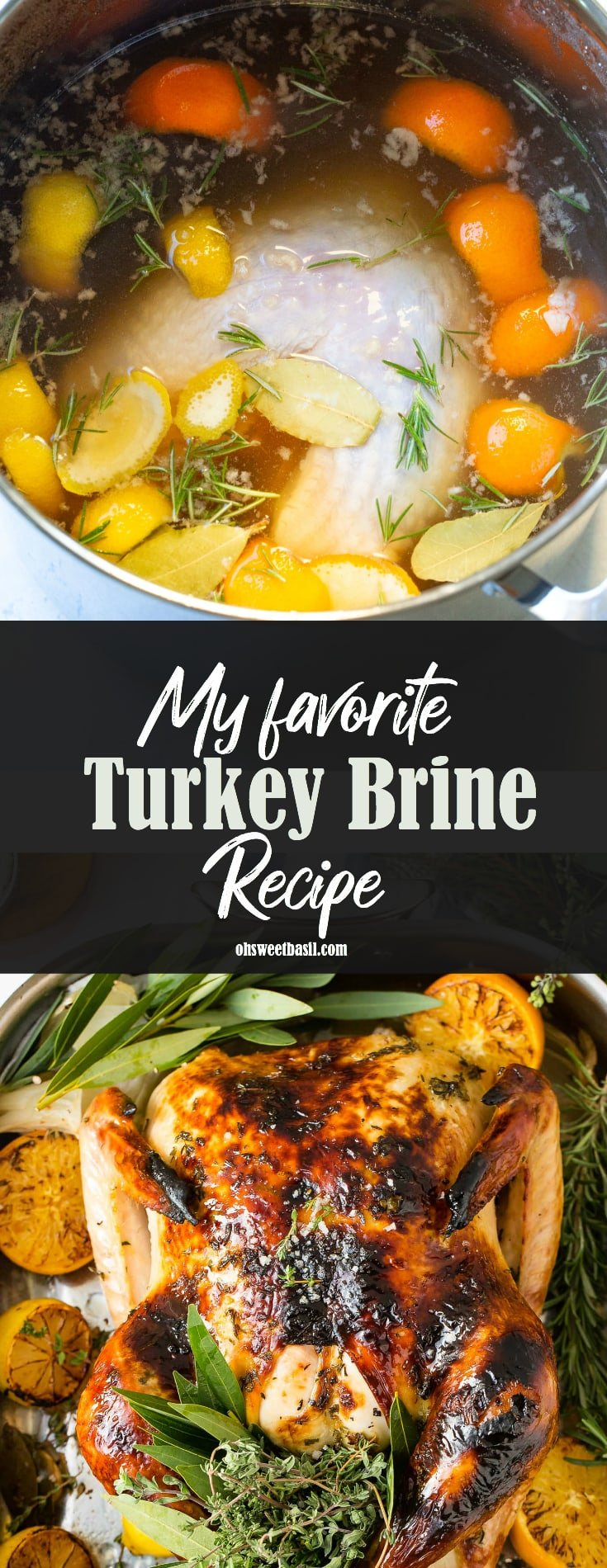 A photo of turkey brine in a large stock pot with fresh herbs, orange and lemon peels.