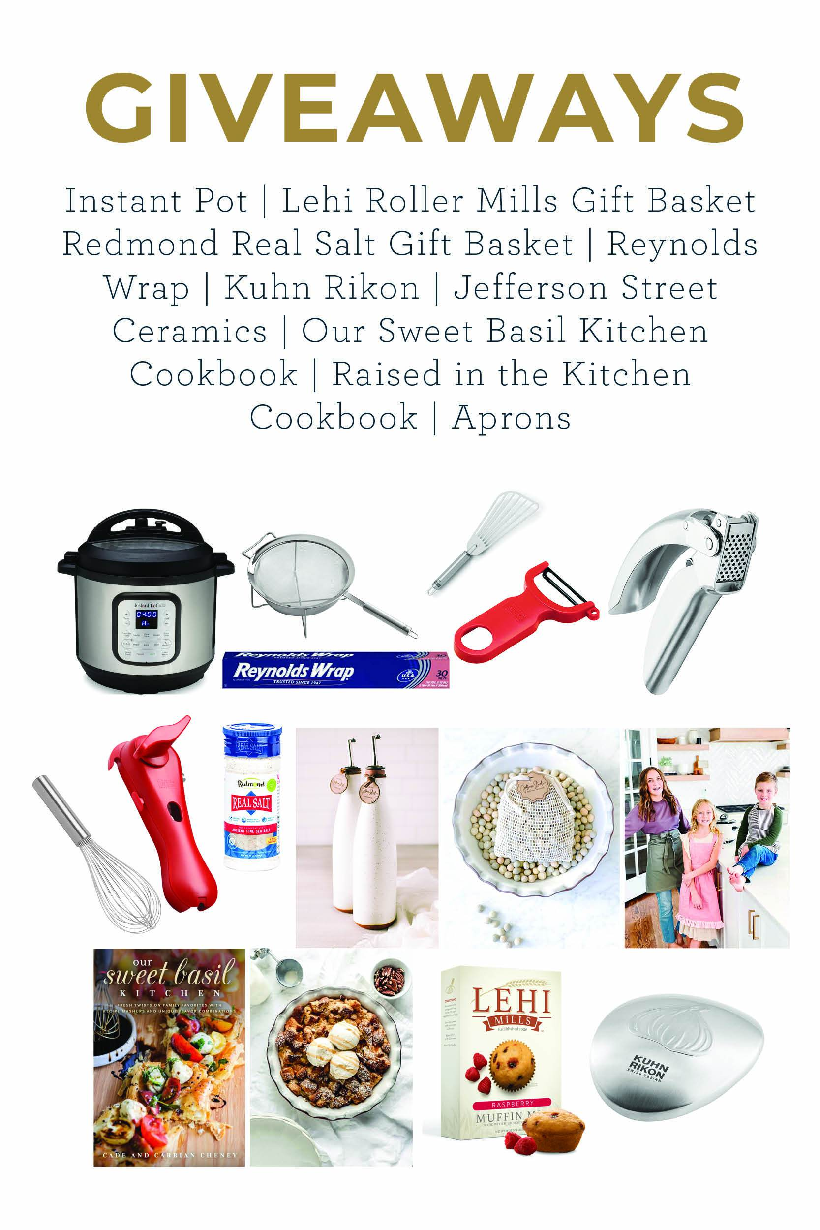 giveaway graphic for the Raised in the Kitchen cookbook launch