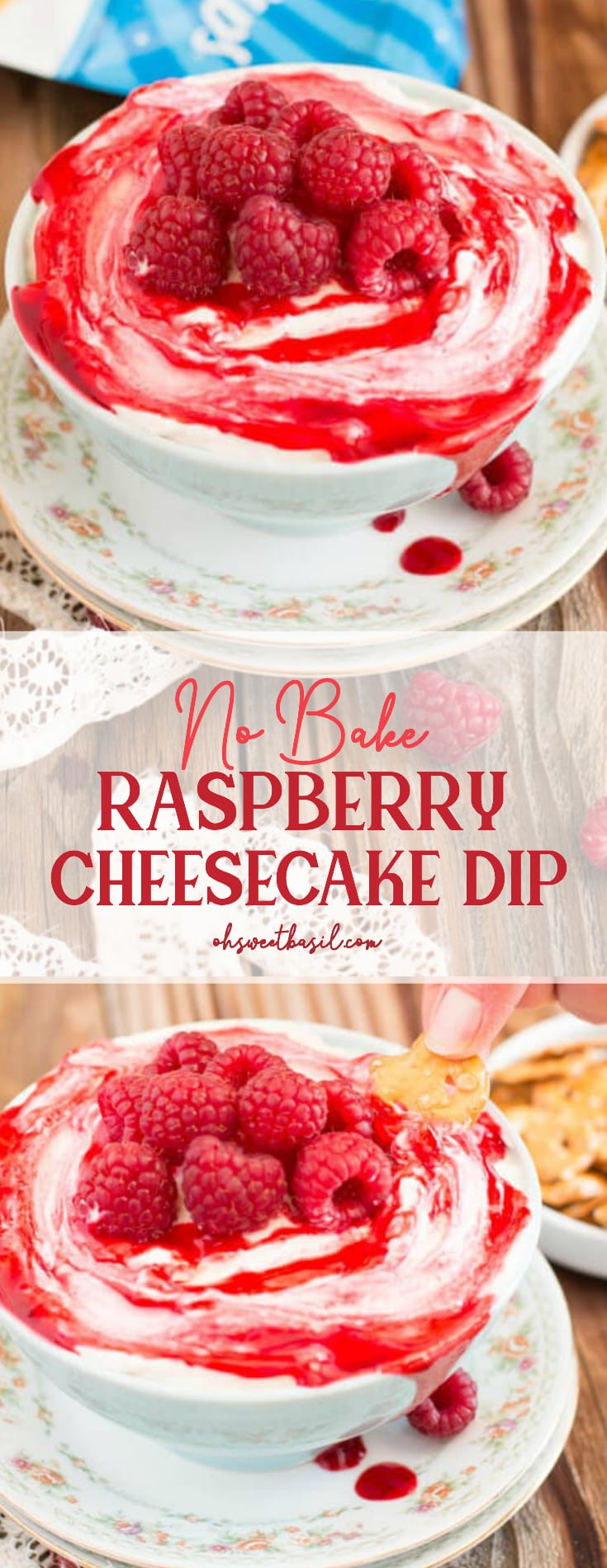 A bowl of Raspberry Cheesecake Dip with cream cheese, marshmallow, raspberry jam and pretzel crisp to dip with
