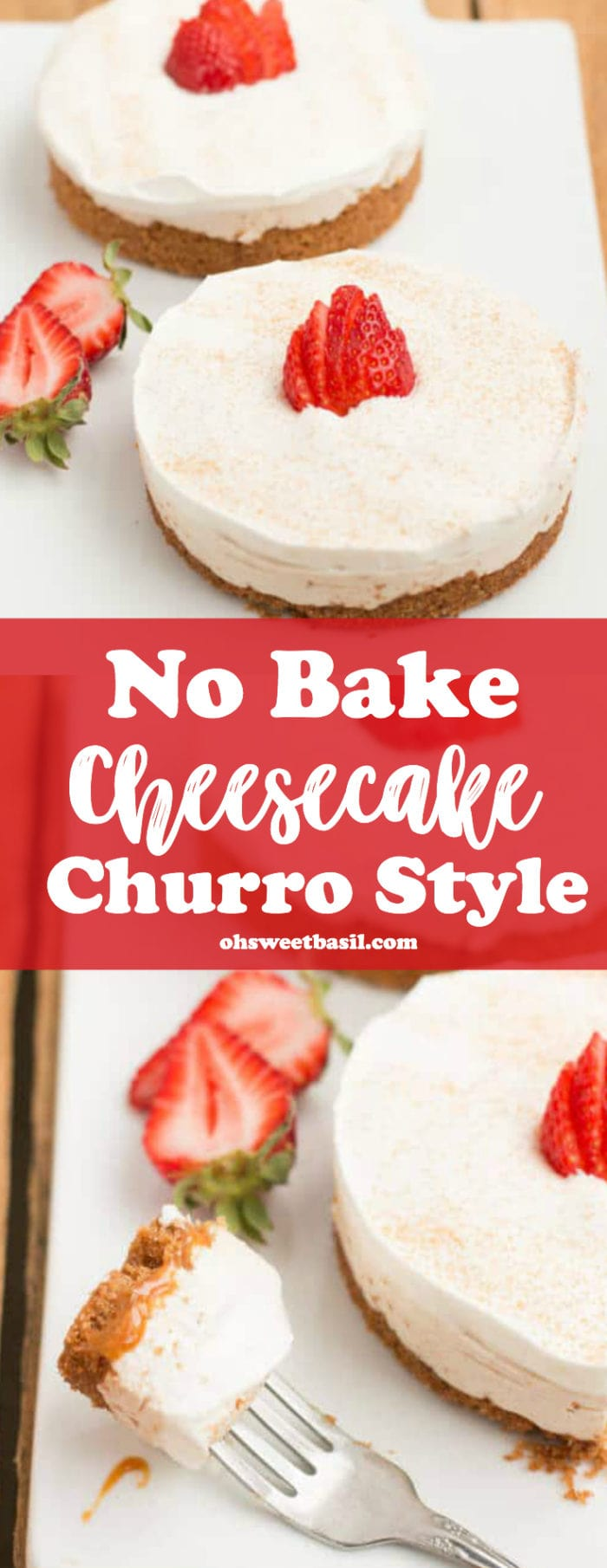 A delicious No Bake Churro Cheesecake with a strawberry on top
