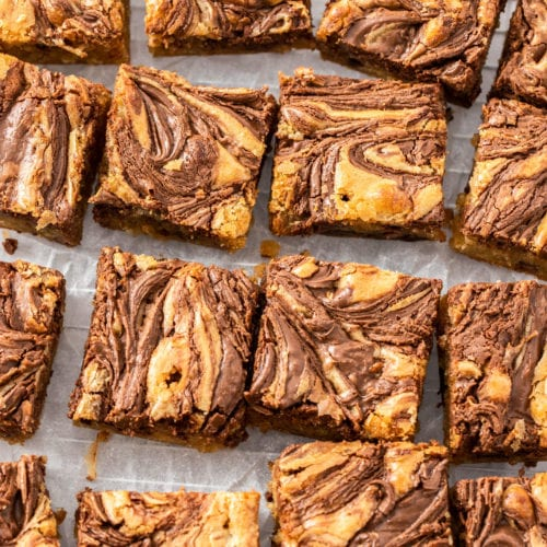 Top down view of a batch of nutella blondies