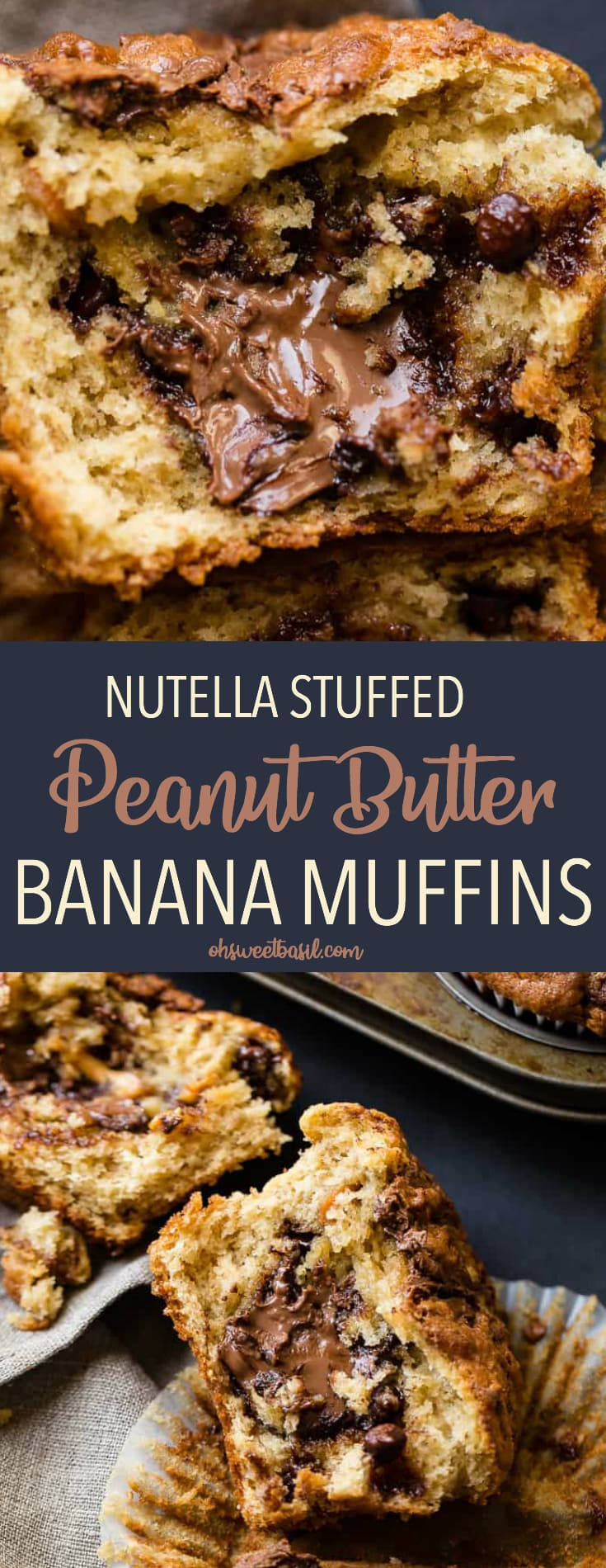 peanut butter banana muffins loaded with chocolate chips, peanut butter chips, stuffed with nutella and nutella swirled on top!