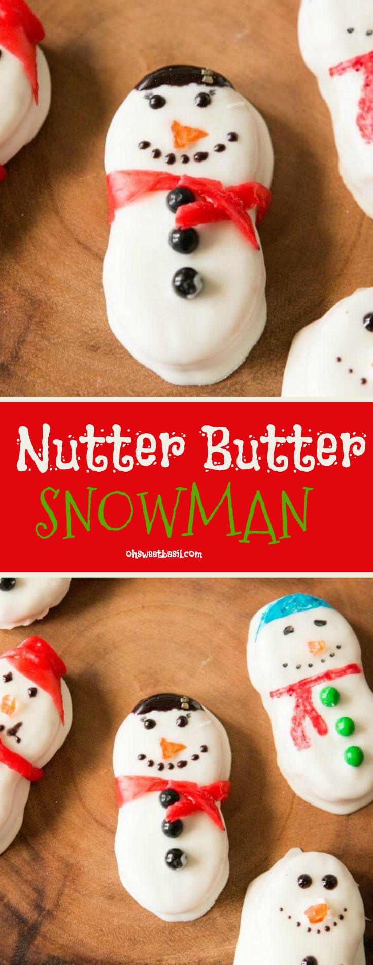 Cute Nutter Butter Snowmen dipped in white chocolate and decorated faces made out of fruit roll up