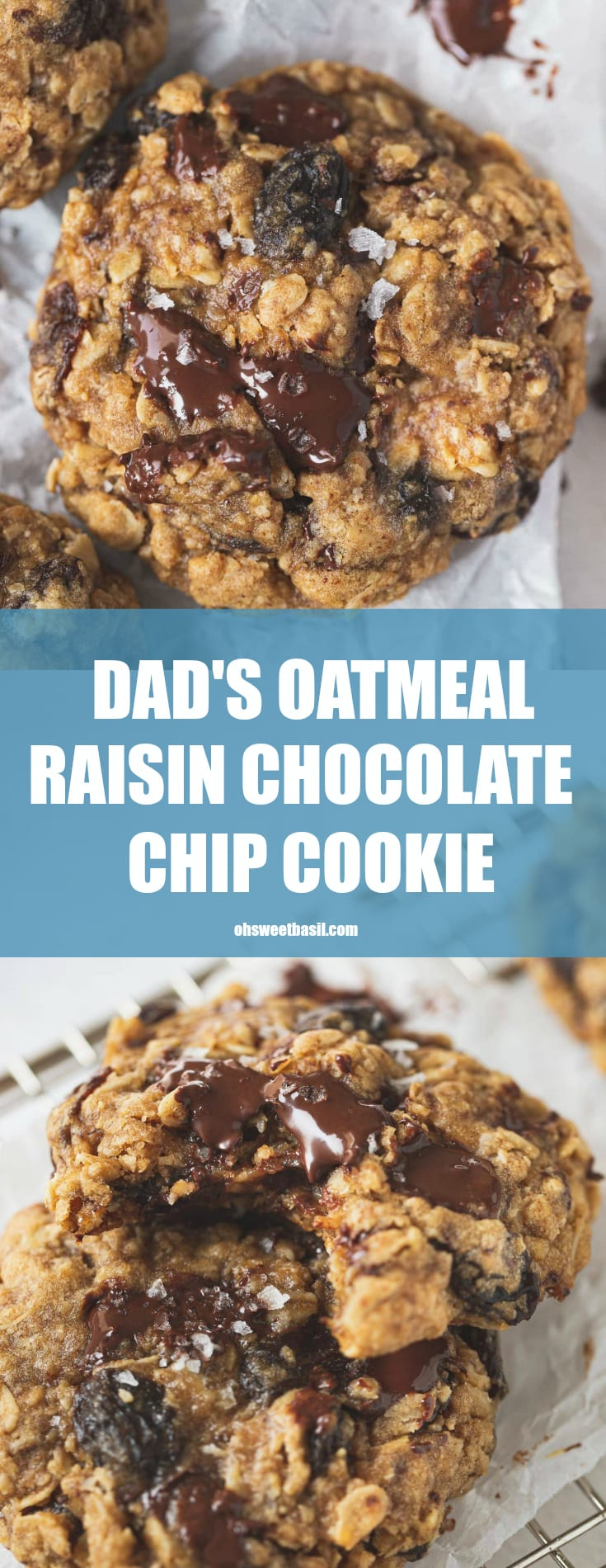 A warm oatmeal raisin chocolate chip cookie. There are raisins and chocolate chunks in the cookies.