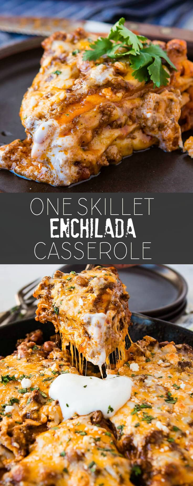 Nothing is better than a skillet piled high with saucy meat, flour tortillas and gooey cheese. One skillet enchilada casserole is perfect for family dinner.