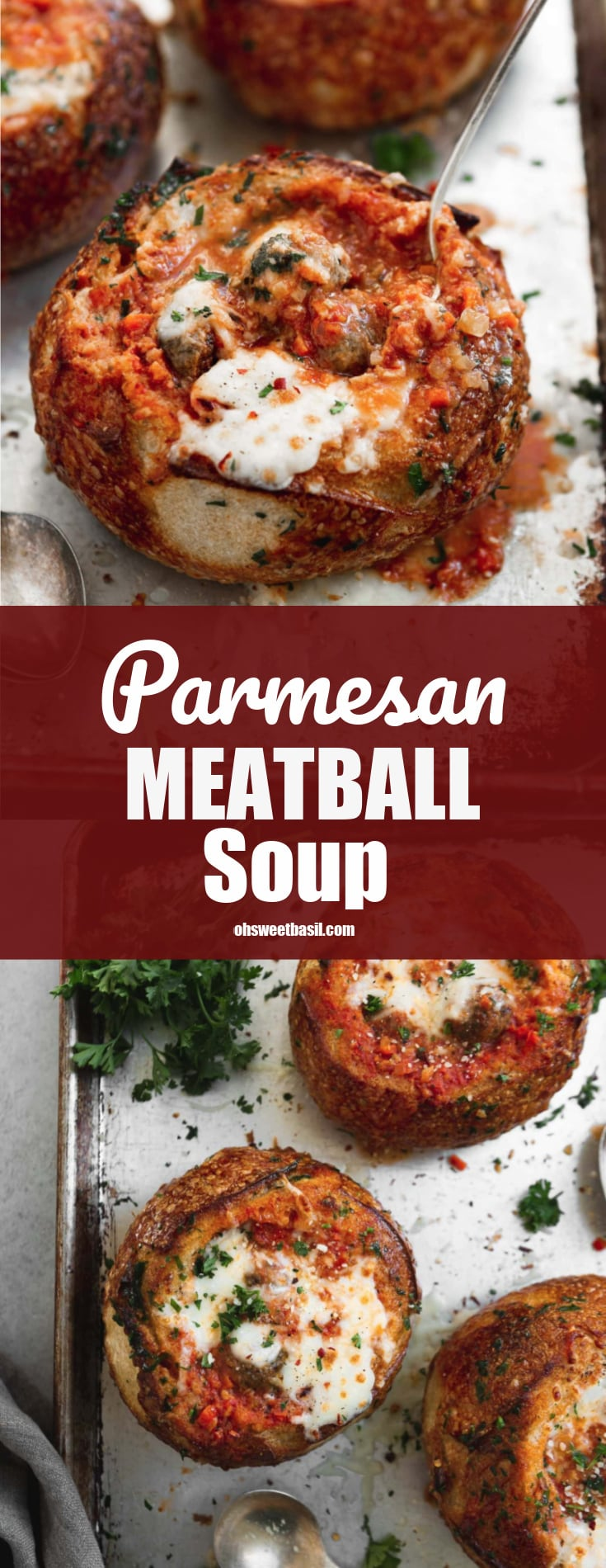 A bread bowl filled with parmesan meatball soup. The bread bowl and soup have been baked to a perfect toasty brown and the cheese on top is gooey melted perfection.