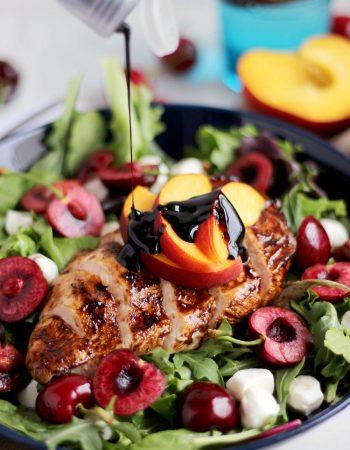 Easy Peach Caprese Salad with Grilled Balsamic Chicken - a light and flavorful summer salad with is healthy and ready in 30 minutes!
