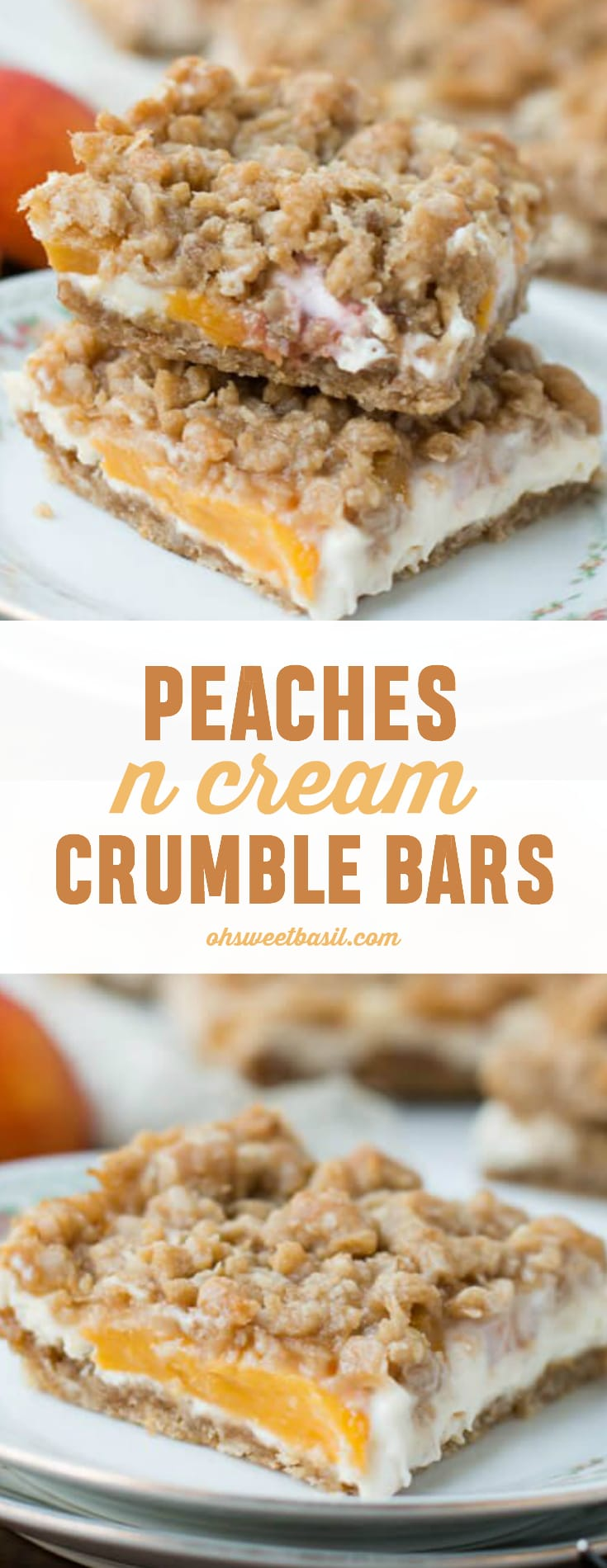 Peaches N Cream Crumble Bars with a creamy filling and brown sugar oat on top