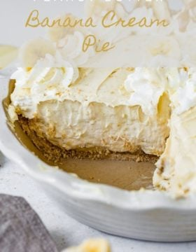 A piece of peanut butter banana pie