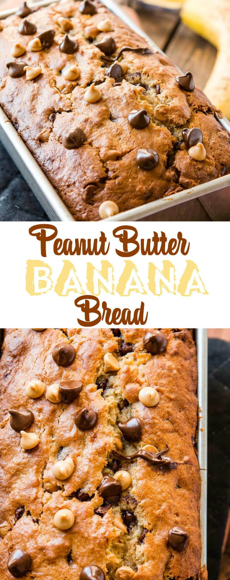 This peanut butter banana bread filled with little morsels of peanut butter and chocolate is the perfect solution to over ripe bananas.