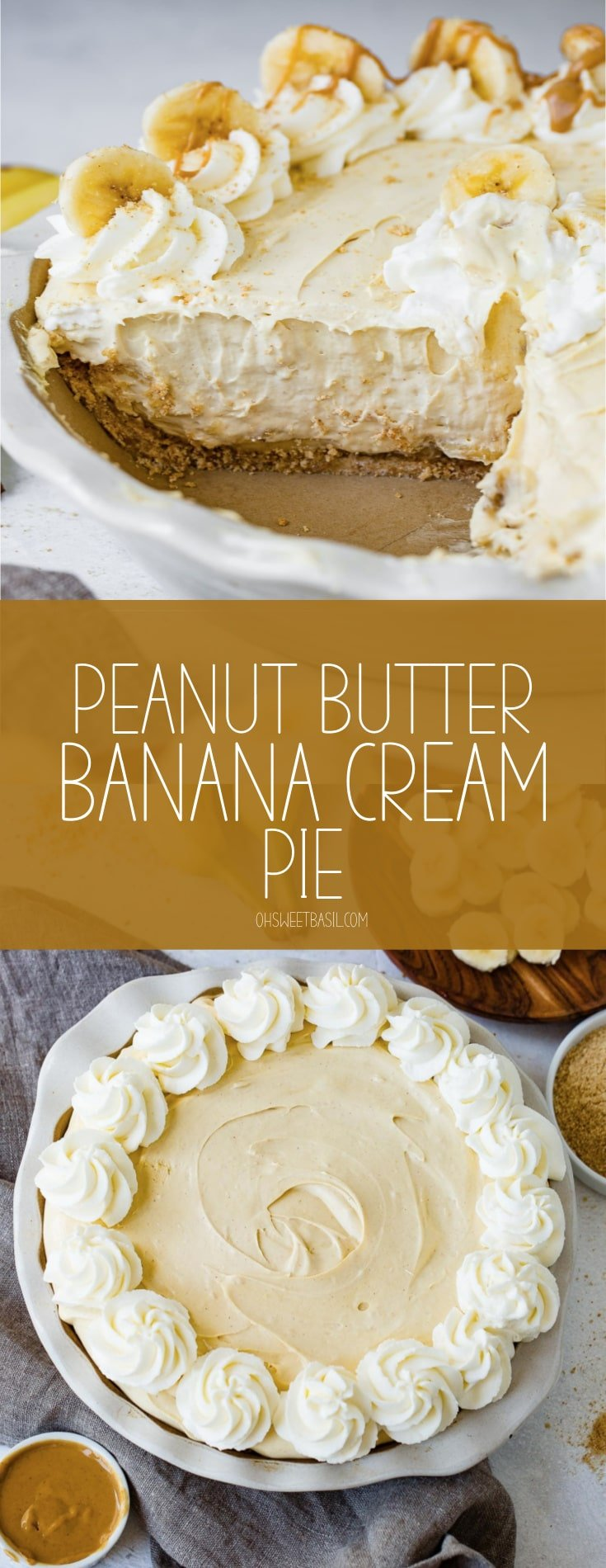A peanut butter banana cream pie with a slice of pie removed. The pie is topped with whipped cream and sliced bananas around the edge.