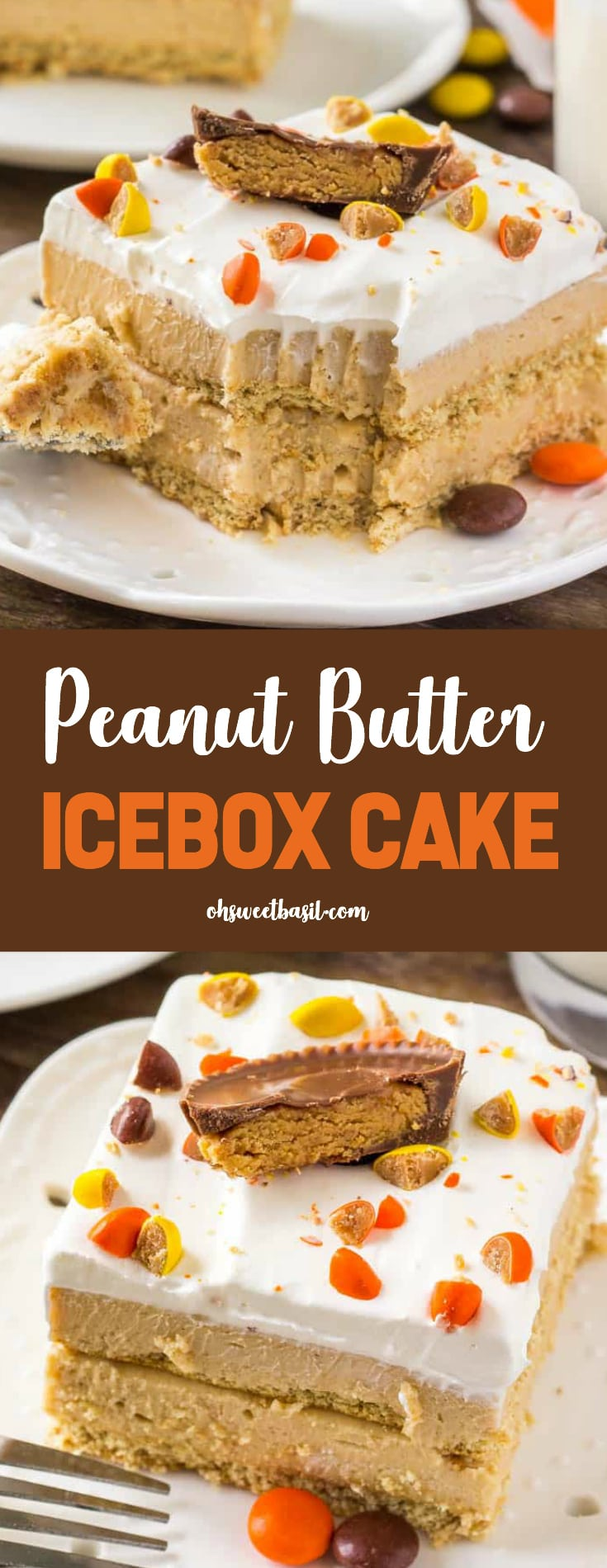 A slice of peanut butter icebox cake with layers of creamy peanut butter filling and topped with peanut butter candies.