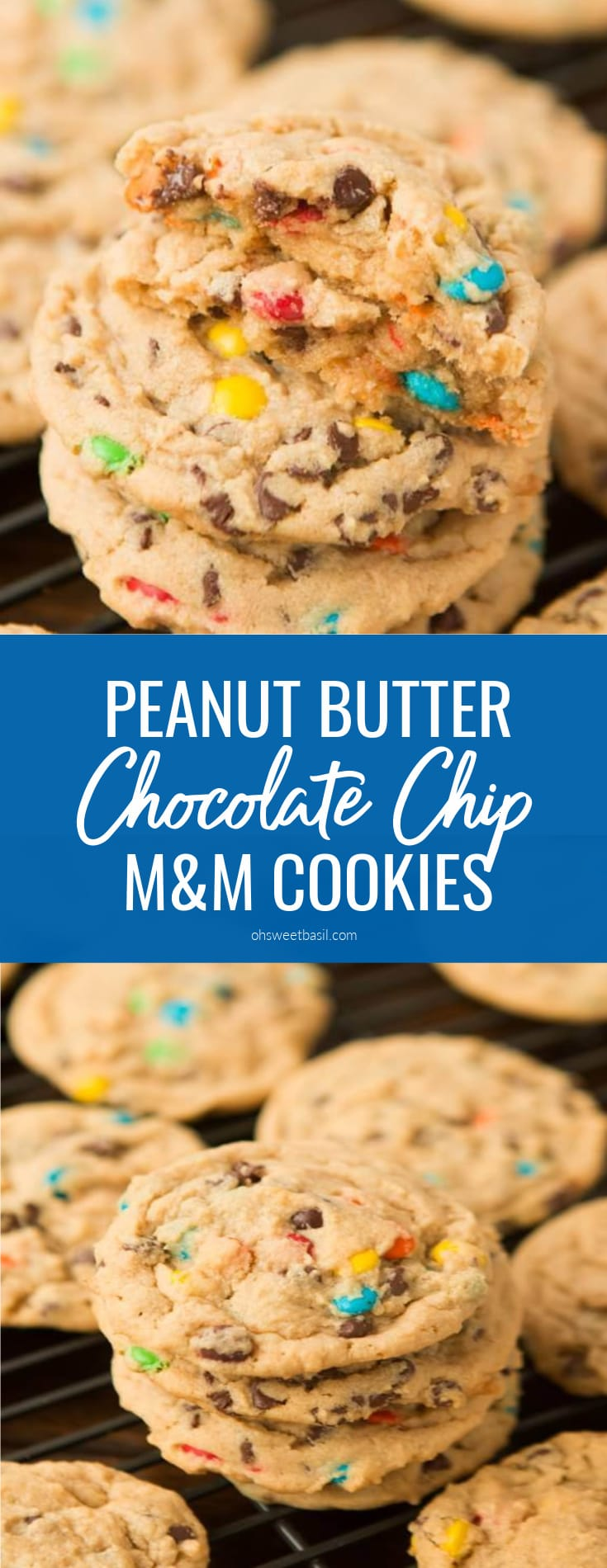A stack of peanut butter M&M Cookies