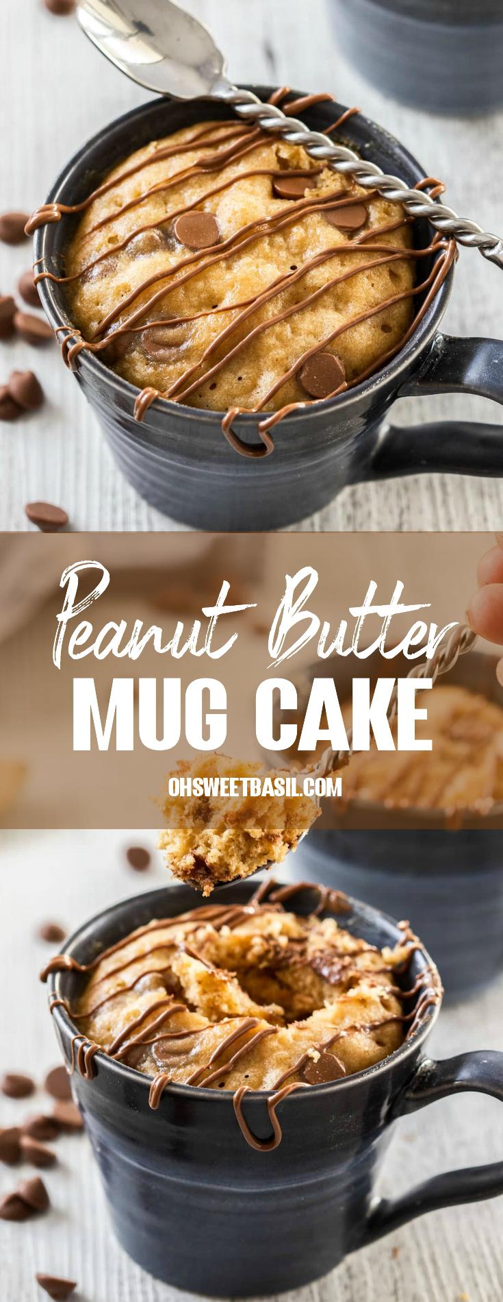 5 Minute Peanut Butter Mug Cake Recipe Oh Sweet Basil