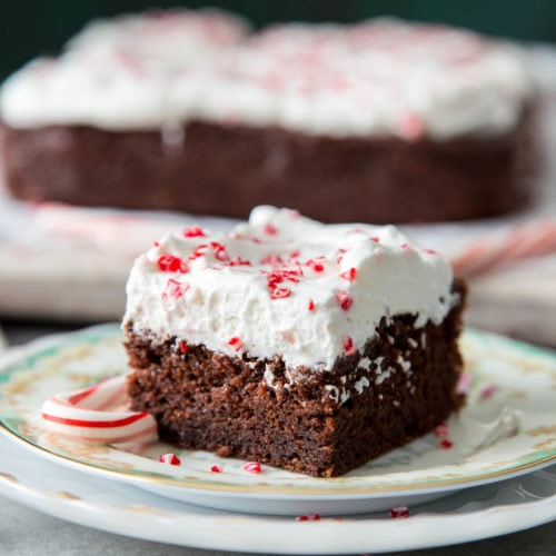 A slice of peppermint chocolate snack cake on a plate
