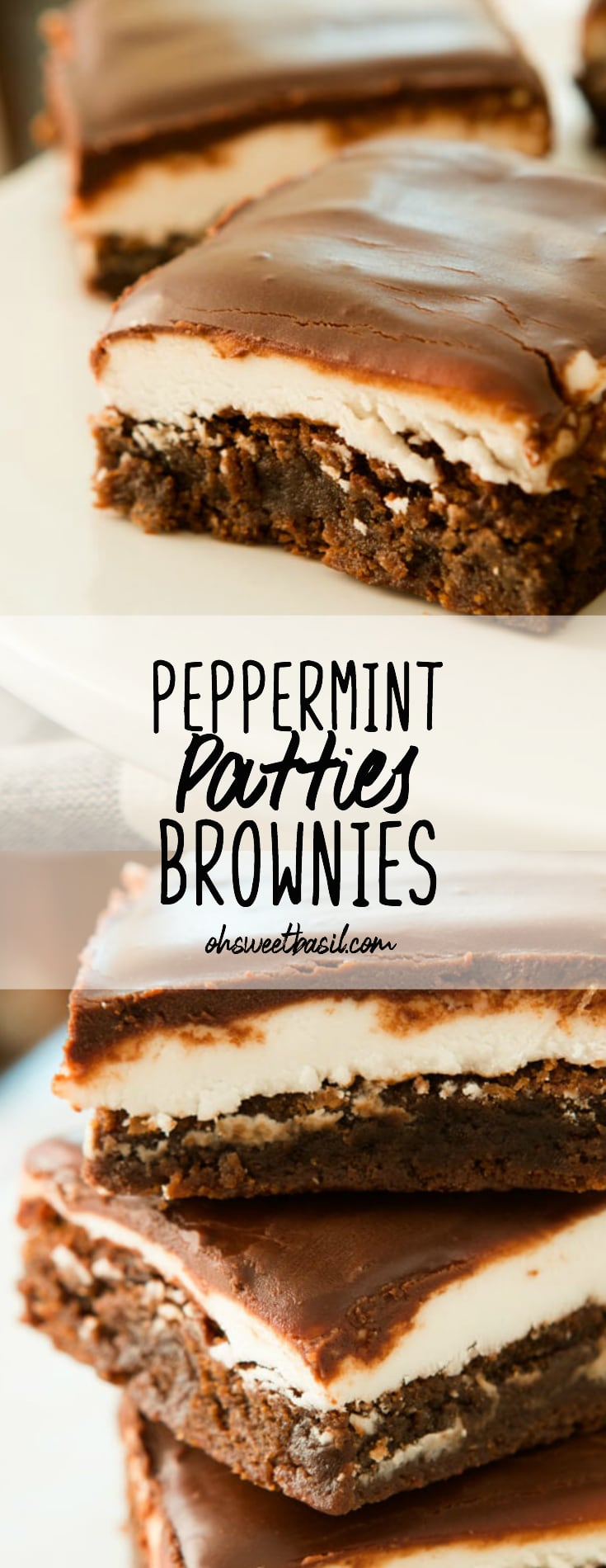A stack of Peppermint Patties Brownies with a chocolate glaze