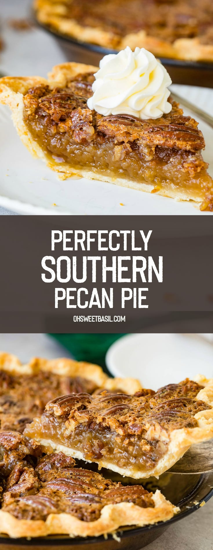 A photo of a slice of pecan pie sitting on a white place with a dollop of whipped cream on top.